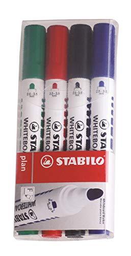 Stabilo 641/4PL Plan Marker per Lavagne Bianche Punta Tonda, 4 Colori, 4 Pezzi