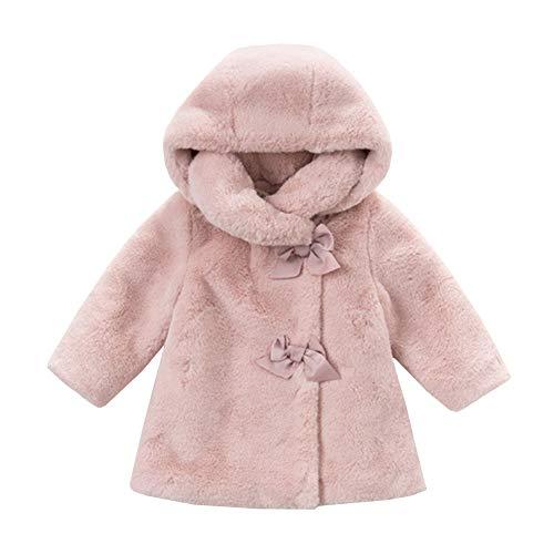 YFCH Baby/Kleinkind Mädchen Prinzessin Süß Pelzjacke Winterjacke Baumwolle Wintermantel mit Abnehmbarer Kapuzer und Schleife-Deco, Rosa, 74/80(Label: 80)