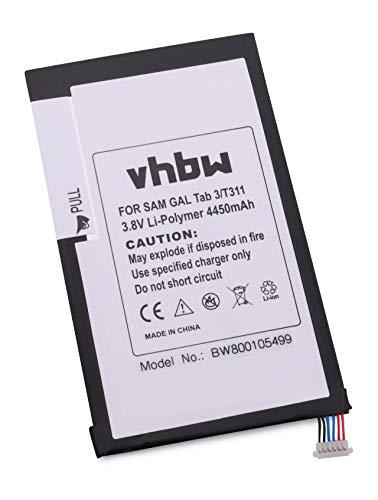 vhbw Akku 4450mAh (3.7V) für Tablet Pad Netbook Samsung Galaxy Tab 3, SM-T310, SM-T311 wie AAaD415JS/7-B, SP3379D1H.