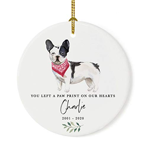 Andaz Press Personalized Round Porcelain Ceramic Christmas Dog Memorial Ornament, You Left A Paw Print On Our Hearts, Black & White French Bulldog, Custom Name and Year, Pet Memorial Ideas, 1-Pack