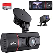 """Topvelo 3 Channel Dash Cam with SD Card Included, 1080P Front Rear and Interior Three Way Dash Cam for Cars, 2"""" LCD Display Dashboard Camera, IR Night Vision, Parking Monitor, for Taxi Driver"""