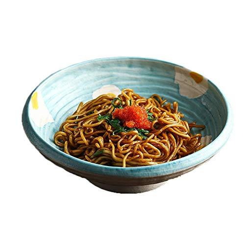 HUAQINEI Cuencos de Sopa de Cereales de cerámica Japonesa Cuencos de Ramen creativos microondas con Fondo Antideslizante para Ensalada de Frutas Verduras Pasta Azul 18x5.5cm
