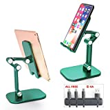 CVIDA Cell Phone Stand, Foldable Phone Holder, Angle Height Adjustable Cell Phone Stand for Desk, Compatible with 4'-12.9' Devices with Cable Organizer and 3 in 1 Multi Charging Cable-Green