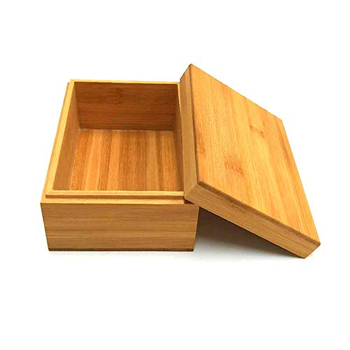 Bamboo wood storage box with cover, wooden storage box combination, storage box, bamboo, natural, heaven and earth cover wooden boxwooden packaging, gift box,storage tea box (6.3X4.72X2.76 inch)