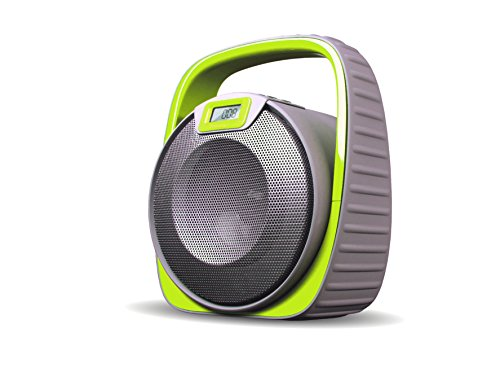 SDigital X-2808 Submarine Bluetooth Lautsprecher wasserdicht (UKW Radio, USB, AUX-In, Powerbank) matt grau/lime grün