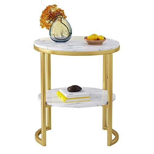 zvcv Mini Tavolino da Salotto in Marmo Tavolino Rotondo Divano Tavolo Ad Angolo 2 Ripiani Ripiano Soggiorno Tavolino da caffè Supporto per Piante