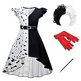 OBEEII 101 Dalmatiens Cruella De Vil Déguisement Enfant Fille Robe Manteau pour Halloween...