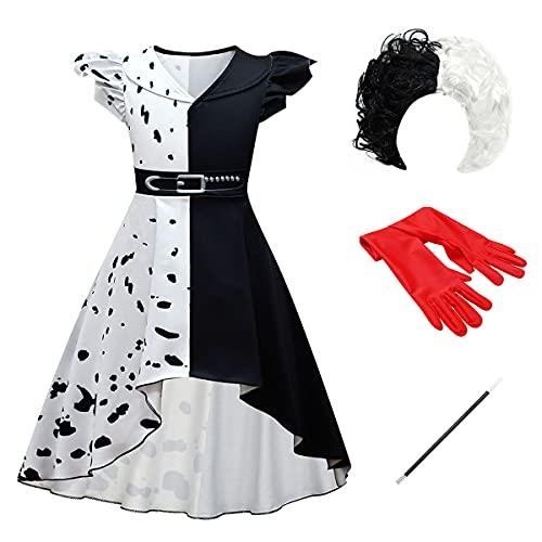 Disfraz de Cruella Deville para Niña Cosplay de Halloween del Perro Dálmata 2021...