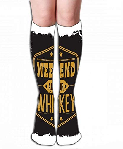 JAONGSADY High Socks Novelty Compression Long Socks for Mannen Vrouwen en Girls Weekend Whiskey Motto Black Frame Stars Vint