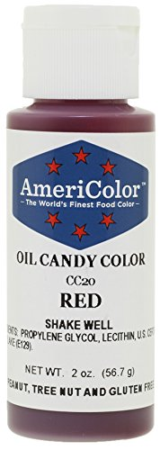 Americolor Candy Oil Food Color, 2-Ounce, Red. Good for coloring candy melts without seizing.