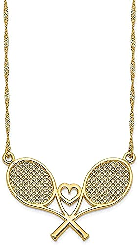 Collar de mujer Collar de hombre Colgante Collar de raqueta de tenis de oro amarillo pulido Collar colgante Regalo para niñas Niños
