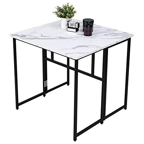 VBARV Folding Square Table, Multi-use Dining Table, Extendable Design, Large Desktop, Space Saving, 360° Mobile Scroll Wheel, Perfect for Kitchen, Breakfast Nook, Bar, Living Room