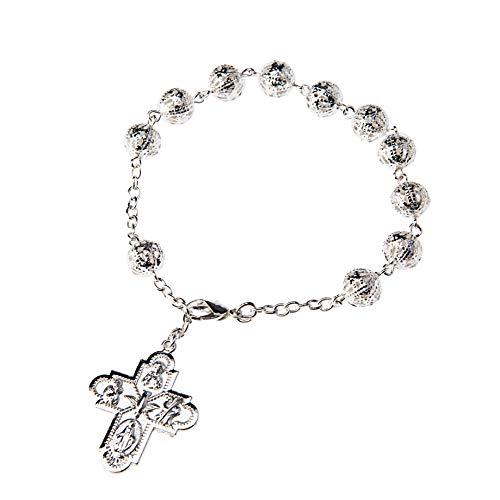 DELL'ARTE Artículos Religiosos- 3 pulseras rosario de metal tipo filigrana, 8 mm con caja portarosario