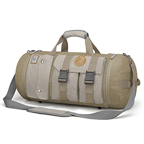 WindTook 40L Sporttasche Groß Männer Fitnesstasche Reisetasche Gym Bag Duffel Bag Rucksack 2 in 1 WeekenderTrainingstasche Travel Bag Tanztasche für Sport Fitness Yoga Herren Damen,54x28x28 CM, Khaki
