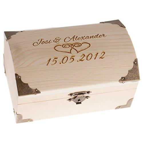 Schatkist voor bruiloft met hart gravure - huwelijkscadeau geld verpakken - houten kist gegraveerd met hart + naam en datum - persoonlijke geldgeschenken │ huwelijkscadeaus voor bruidspaar