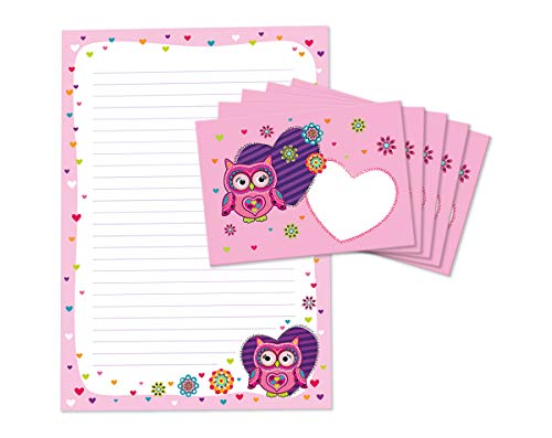 Briefblock mit Umschlag für Kinder Eule Briefpapier-Set (Block A4 mit 25 Blätter + 15 Umschläge)