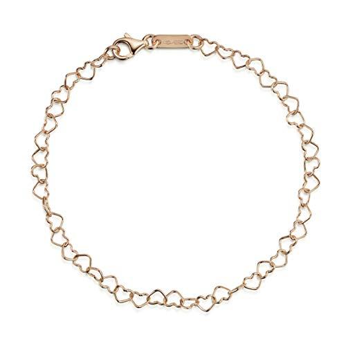 Amberta Braccialetto in Oro Rosa 9 Kt - 4 mm Bracciale per Donna - Catenina Unione di Cuori - Regolabile Fino a 19 cm