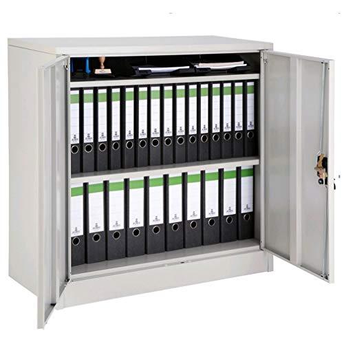 Lockable Office Storage cupboard Desk Filing Document Cabinet Metal Shelves 2-door (90x40x90 CM)