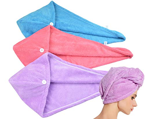 HOPESHINE Hair Towel Twist Women's Soft Shower Towels for Hair Turban Wrap Drying Cap Great Gift for Women (Blue+Purple+Rose Red 3-Pack)