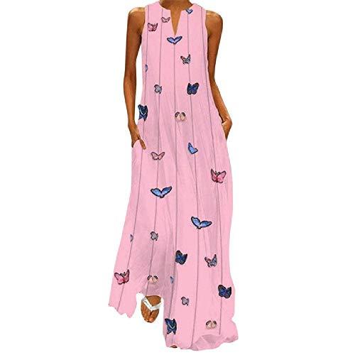N\P Mujeres señoras elegante impresión de mariposa sexy sin mangas verano largo Bohemia Maxi vestido fiesta desgaste