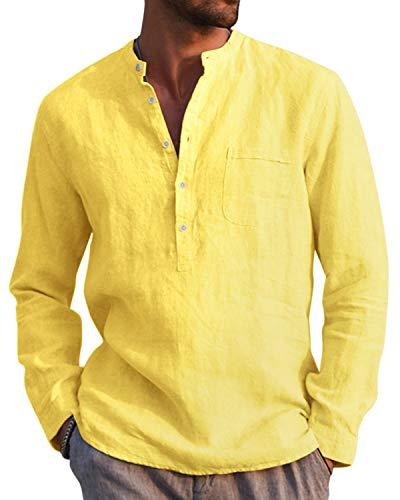 AUDATE Camisa de algodón de lino para hombre, para otoño e invierno, de manga larga, corte regular, para tiempo libre amarillo M