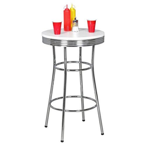 Wohnling Elvis - American Diner Bar-Tisch rund Ø 60 x 100 cm aus MDF/Aluminium, Robuster Bistrotisch im Stil der 50er Jahre, Party-Tisch mit Untergestell aus verchromtem Alu, weiß/silber