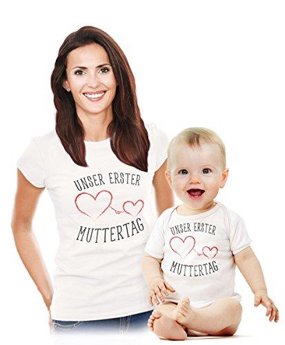 Unser erster Muttertag - Süßes Geschenk Partner Outfit für Mama und Baby Body Weiß 3-6 Monate/Shirt Weiß L
