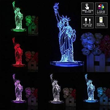 3D New York City Statua della Libertà Touch Remote 7 Cambiare Colore LED Lampada Da Tavolo Notte Luce Regalo