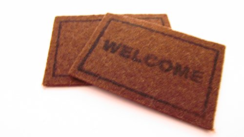 Miniature 1/12th Scale Set Of 2 Doormats 1 x Welcome and 1 x Plain To Place In Front Of Your Fairy Door by Fairy Fantasy