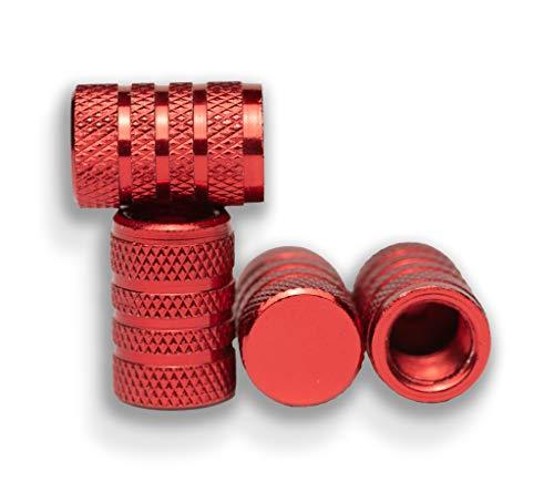 4er-Set Alu Ventilkappen für Auto Motorad Fahrrad Roller und Anhänger Radventilkappen Reifenventilkappen Ventildeckel Autoventilkappen car Valve caps (Rot)