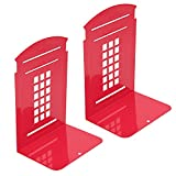 Kioneer - Sujetalibros de metal, 1 pares, estilo vintage, estilo británico, cabina telefónica de Londres, para la escuela, oficina, estudio, metal, regalo falso (negro), color rosso