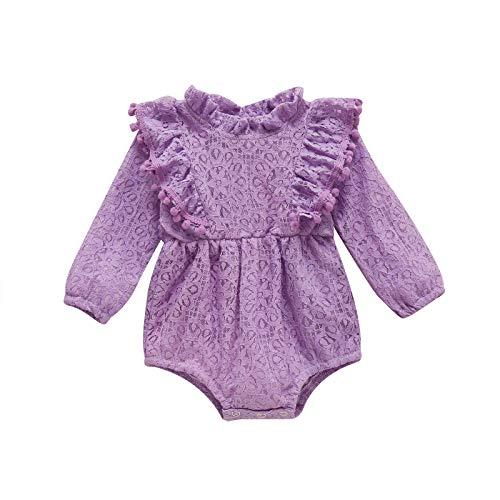 Carolilly Pagliaccetto Neonata Manica Lunga Tutina Neonata in Pizzo Body Bimba 0-24Mesi Tuta Bambina Intera Vestito Neonati Abito Principessa Baby Girl Clothes(Viola,6-9M)