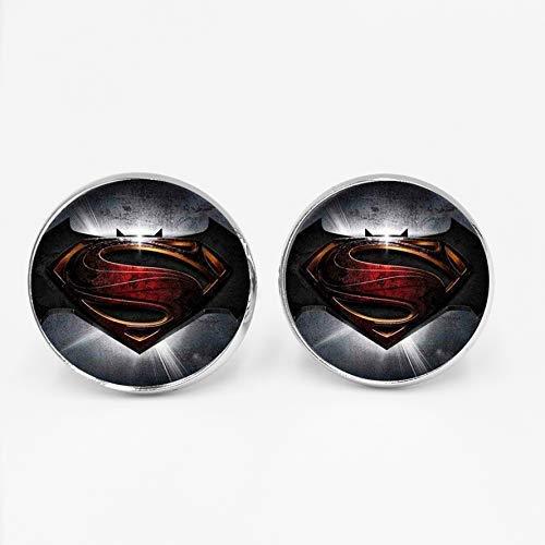 Manschettenknöpfe Batman PK Superman Time Glas Edelstein Manschettenknöpfe Mode Hemd Glamour Glas Knöpfe Private Custom