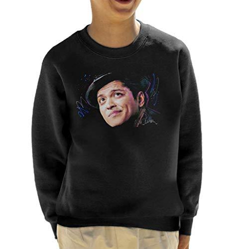VINTRO Bruno Mars Hat Kinder Sweatshirt Original Portrait by Sidney Maurer Professionell Bedruckt Gr. Small, Jet Black