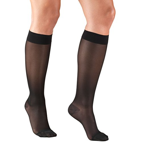 Womens Sheer Compression Stockings (15-20 mmHg), Knee High, Black, Large