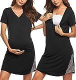 Pinspark Damen Stillkleid Geburt Stillnachthemd Kurzarm Umstandskleid Umstandsnachthemd Spitze Nachthemd Nachtwäsche für Schwangere und Stillzeit Schwarz XL