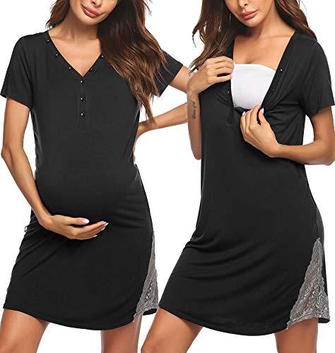 Pinspark Damen Stillkleid Geburt Stillnachthemd Kurzarm Umstandskleid Umstandsnachthemd Spitze Nachthemd Nachtwäsche für Schwangere und Stillzeit