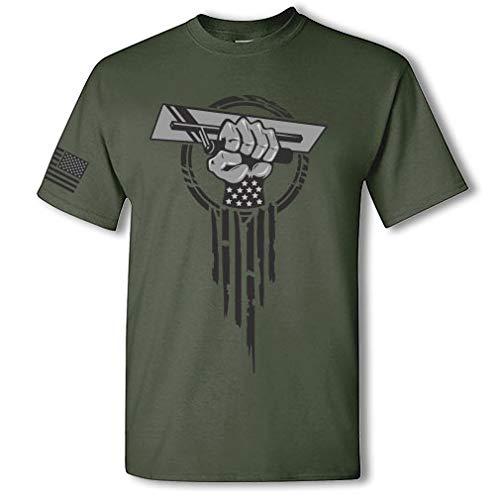 Concrete Finisher Superhero Cement Finisher USA Patriotic Hero Fist Short Sleeve T-Shirt