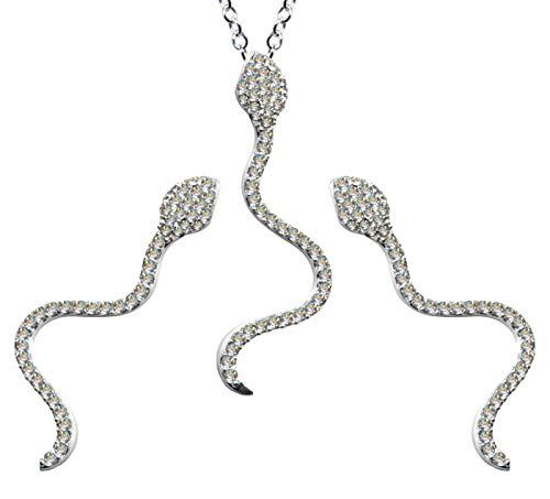 Juego de joyas de plata de ley 925, pendientes + cadena + colgante de serpiente, cadena de plata, colgante, pendientes de circonita, color blanco claro
