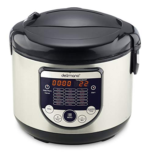 Delimano MultiCooker 18 in 1 Multikocher Multifunktionsgerät Heiz- und Warmhaltefunktion 18 Programme 4L Touchscreen LED-Display