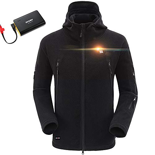 DEWBU Hombre Fleece Chaqueta Calefactable con 7.4v Batería Ropa de Hombre y Mujer Softshell Moto Chaqueta Climatizada al Aire Libre para Senderismo Pesca Camping Moto Viaje