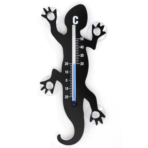 HAB & GUT - TG001 - Noir - Thermomètre de fenêtre Gecko de métal, 14 cm avec 4 ventouses puissantes pour Fixation intérieure ou extérieure