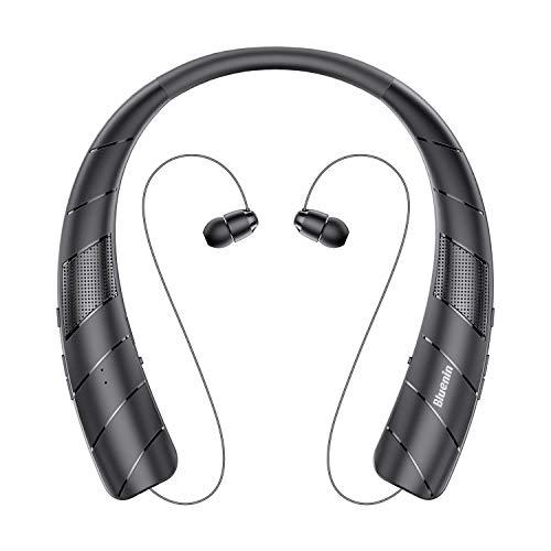 ネックスピーカー ワイヤレス Bluetoothイヤホン2 in 1 ウェアラブル 15時間連続使用 Bluetooth5.0 搭載 伸縮式ケーブル 音楽 通話 テレビなど適用 HI-FI 3Dステレオ マイク内蔵 首かけスピーカー (ブラック)