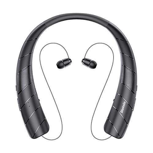 Bluenin BlueWave Pro 1 Bluetooth Headphones Speaker 2 in 1,Wireless Headphones Neckband Wearable Speaker Retractable Earbuds 3D Stereo Sound Sweatproof Headset with Carry Bag (Black)
