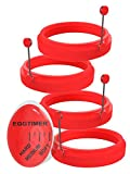 4 Egg Rings and Egg Timer Set, Red Pancake Molds Made of Food-Grade Silicone for Fried Eggs,...