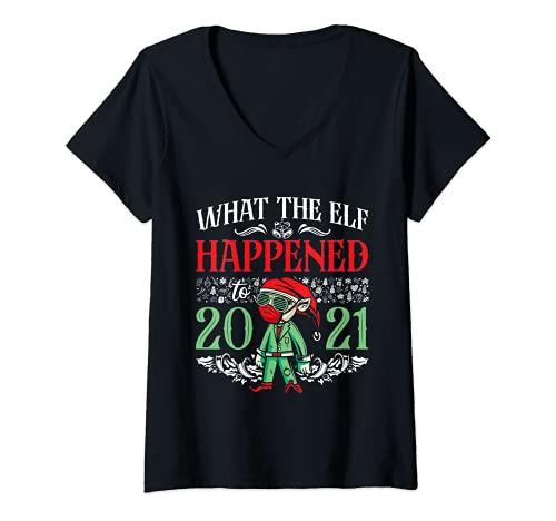 Mujer Navidad 2021 divertido elfo Navidad Lo que el elfo pas a 2021 Camiseta Cuello V