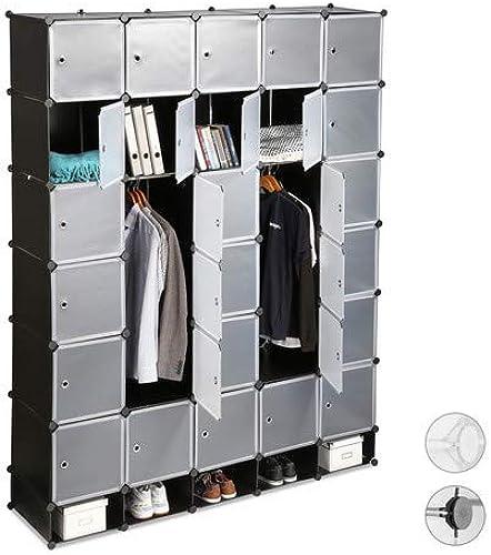 Todos los productos obtienen hasta un 34% de descuento. Relaxdays Relaxdays Relaxdays Armario Modular XXL con 25 Compartimentos, negro, 234 X 180 X 46.5 Cm  protección post-venta
