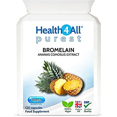 Bromelain 1200gdu 120 Capsules (V) . Purest- no additives. Vegan Capsules (not Tablets) for Inflammation, Swelling and Digestion. Made in The UK by Health4All