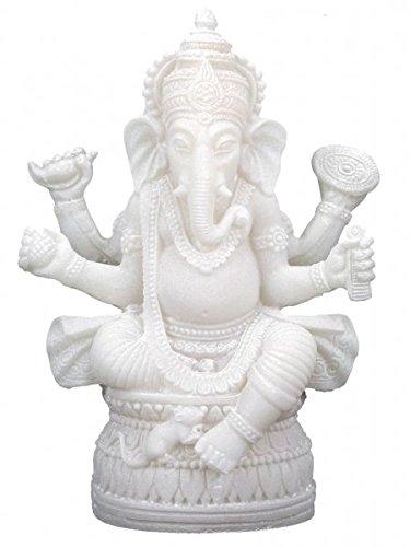 Estatua Ganesha de 17 cm de altura de alabastro blanco con polirresina....
