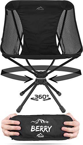 normani Campingstuhl Drehstuhl 360-Grad-Drehung Faltstuhl mit Drehgelenk und Netzfutter Anglerstuhl Belastbarkeit 120 Kg/Gewicht: 1116 g Farbe Schwarz